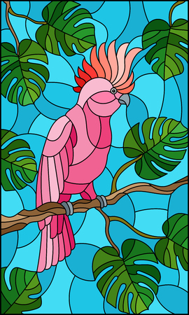 Illustration in stained glass style  bird pink cockatoo parakeet on branch tropical tree against the sky
