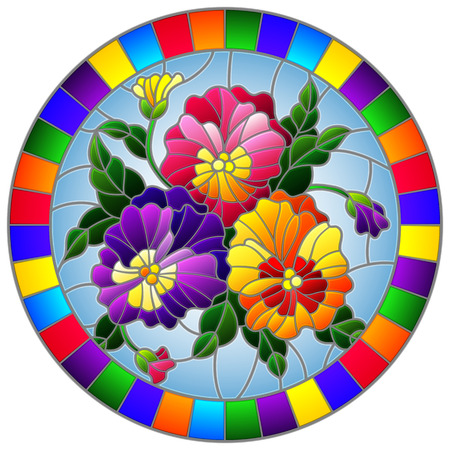 Illustration in stained-glass style with flowers pansies on a blue background in a bright frame, round image Иллюстрация