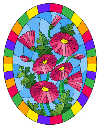 Illustration in stained glass style with a bouquet of pink daisys on a blue background in a bright frame, oval image