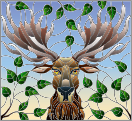 Illustration in stained glass style with moose head,on the background of tree branches and the sky, a rectangular image
