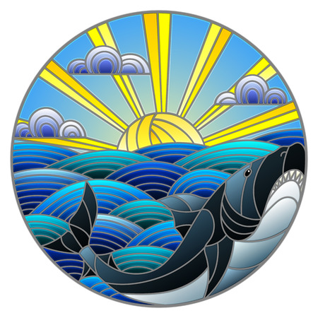 Illustration in stained glass style shark into the waves, Sunny sky and clouds, round image