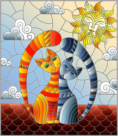 A couple of cats in stained glass abstract style sitting on the roof against the cloudy sky and the sun