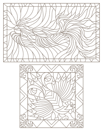 a set of contour illustrations of stained glass Windows with roosters, rectangular images in frames, dark contours on a white background
