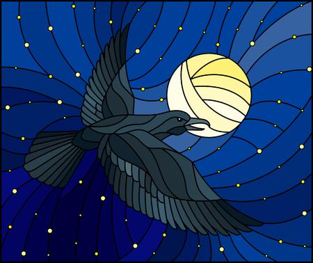 Illustration dans le corbeau de style vitrail sur fond de ciel étoilé et de lune