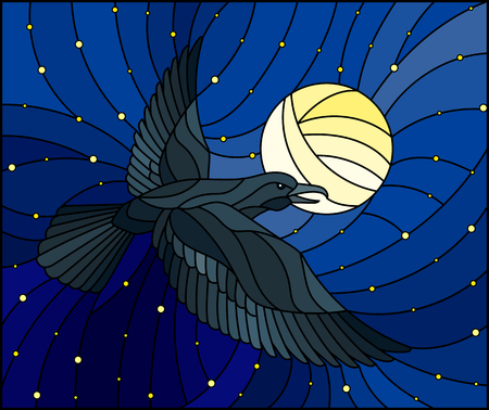 Illustration in stained glass style raven on the background of starry sky,  and moon Çizim