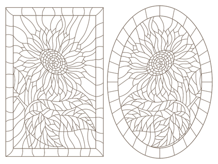 A set of contour illustrations of stained glass Windows with sunflowers in frames, dark contours on a white background, oval and rectangular image Illustration