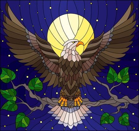 Illustration dans le style de vitrail avec un aigle fabuleux assis sur une branche d'arbre contre le ciel étoilé et la lune