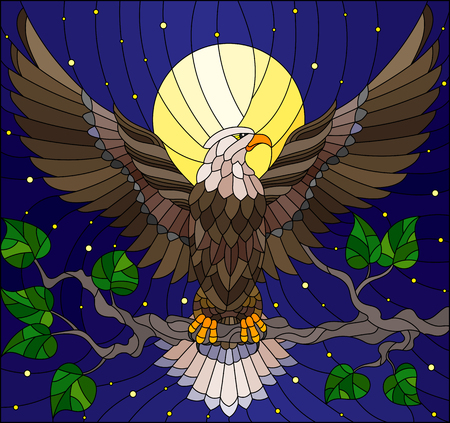 Illustration in stained glass style with fabulous eagle sitting on a tree branch against the starry sky and moon Ilustracja