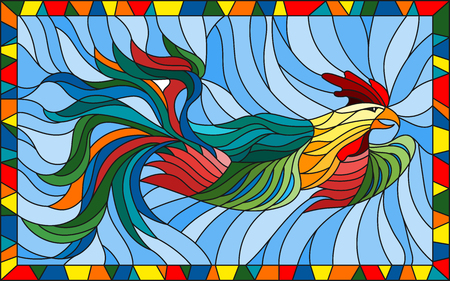 Illustration in stained glass style with abstract rooster on blue background in bright frame