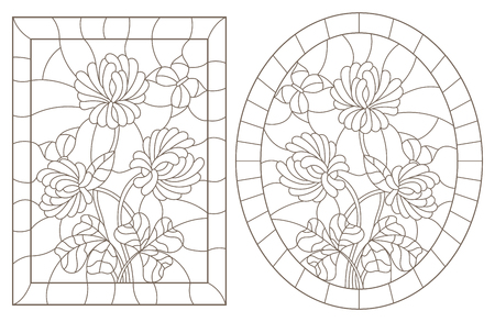 A set of contour illustrations of stained glass Windows with clover and butterflies in frames, dark contours on a white background, oval and rectangular image