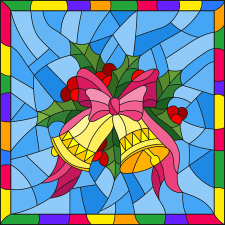 Illustration in stained glass style for New year and Christmas, bells, Holly branches and ribbons on a blue background in a bright frame Ilustração