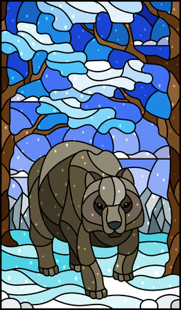 Illustration in stained glass style with wild bear on the background of trees, mountains, snow  and sky
