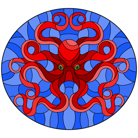 Illustration in stained glass style with abstract red octopus against a blue sea ,round picture Vectores