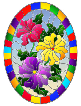 Illustration in stained glass style with a bouquet of bright flowers on a blue background in a bright frame, oval image