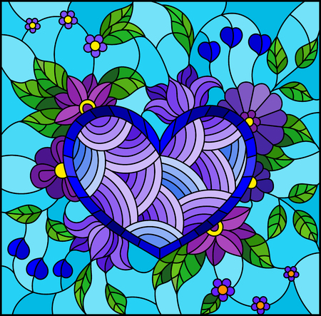 Illustration in stained glass style with abstract blue heart and flowers on blue background Vector Illustration