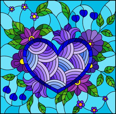 Illustrazione in stile vetro colorato con cuore blu astratto e fiori su sfondo blu Vettoriali