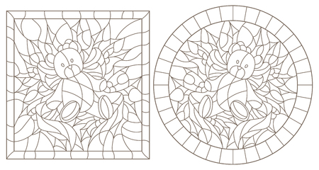 Set of contour illustrations in stained glass style for the New year and Christmas,Teddy bear, Holly branches and ribbons in the frame, round and square image