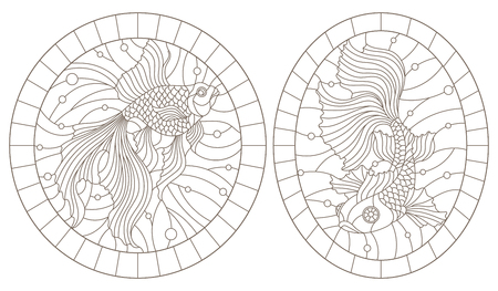 Set of contour illustrations of stained-glass Windows with goldfishes, the round image in the frame, dark contours on a white background  イラスト・ベクター素材