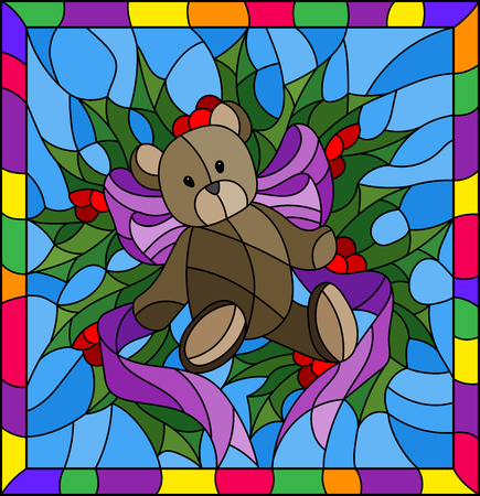 Illustration im Buntglasstil für Neujahr und Weihnachten, Teddybär, Stechpalmenzweige und Bänder auf einem blauen Hintergrund in einem hellen Rahmen Vektorgrafik