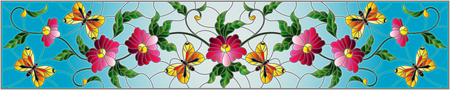 Illustration in stained glass style with abstract curly pink flower and a purple butterfly on blue background , horizontal image