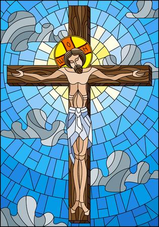 Ilustracja w stylu witrażu na temat biblijny, Jezus Chrystus na krzyżu na zachmurzonym niebie i słońcu