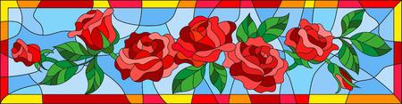 Illustration im Buntglasstil mit abstrakten roten Rosen und Blättern auf blauem Hintergrund im hellen Rahmen, horizontale Ausrichtung