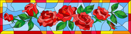 Illustration in stained glass style with abstract red roses and leaves on blue background in bright frame, horizontal orientation