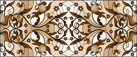 Illustration in stained glass style with abstract flowers, swirls and leaves  on a light background,horizontal orientation, sepia