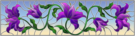 llustration in stained glass style with flowers, leaves and buds of purple lilies on a blue background