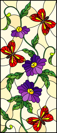 Illustration in stained glass style with abstract curly purple flower and an red  butterfly on yellow background , vertical image Ilustracja