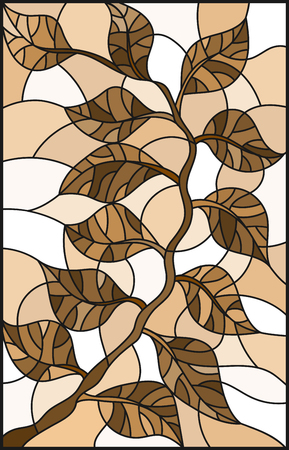 Illustration in stained glass style plant branch with leaves , one brown, sepia