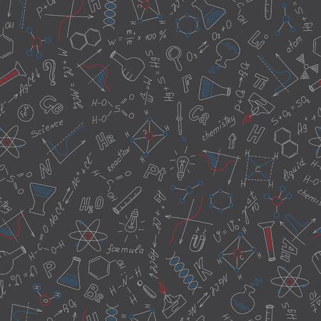 Patrón sin fisuras con fórmulas, gráficos y equipos como tema de química con tizas de colores en la junta escolar oscura Ilustración de vector