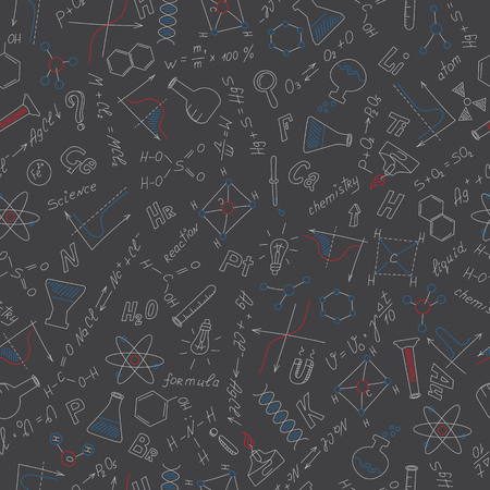 Seamless pattern with formulas,graphs, and equipment as the subject of chemistry with colored chalks on the dark school Board Vector Illustration