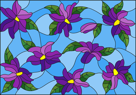 Illustration in the style of stained glass with intertwined purple lilies and leaves on a blue background