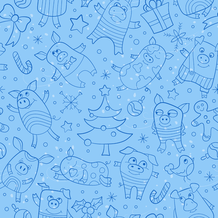 Seamless pattern on new year theme with funny cartoon pigs and snowflakes, dark blue icons on blue background