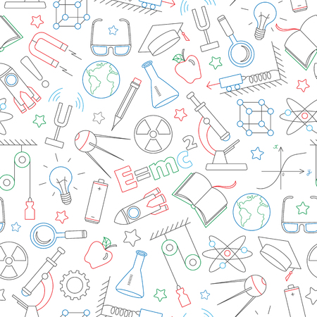 Seamless pattern on the theme of the subject of physics education, simple dark contour icons painted with colored markers on white background