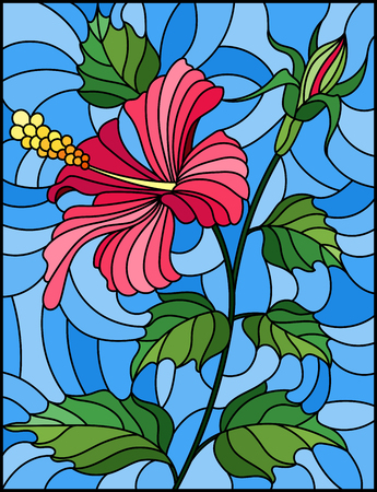 Illustration in stained glass style with flower, buds and leaves of pink hibiscus on blue background Illustration