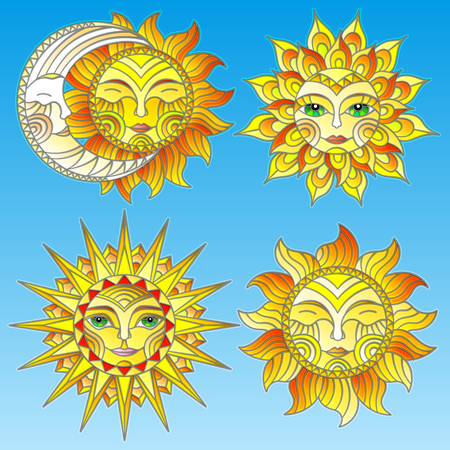 A set of stained-glass suns with faces on a sky background isolates