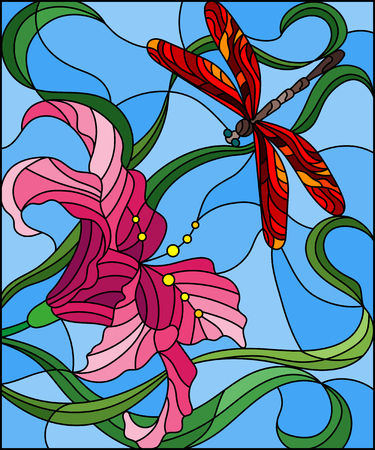 Illustration in stained glass style with bright red  dragonfly against the sky, foliage and flower of pink Lily