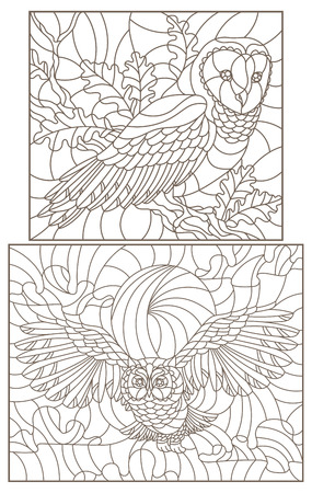 Set of contour illustrations with owls, dark contours on white background