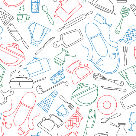 Seamless pattern on the theme of cooking and kitchen utensils, simple contour icons, painted with colored markers on white background Illustration