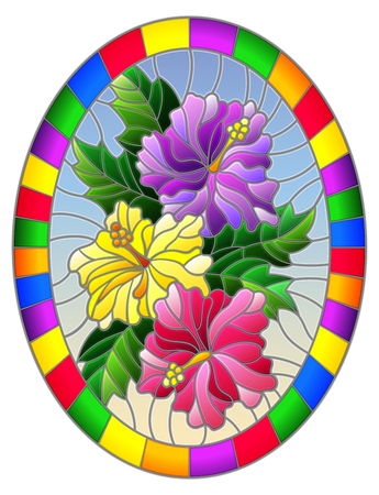 Illustration in stained glass style flower of hibiscus on a blue background in a bright frame,oval  image