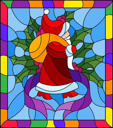 Illustration in stained glass style for New year and Christmas, Santa Claus, Holly branches and ribbons on a blue background in a bright frame 일러스트