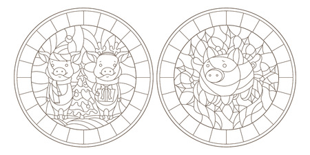 Set of contour illustrations of stained glass Windows for the New year with pigs, dark contours on a white background