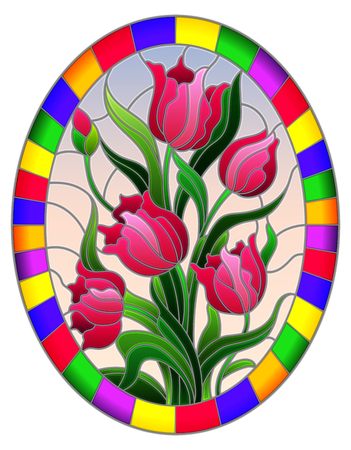 Illustration in stained glass style with a bouquet of pink tulips on a blue background in a bright frame, oval image