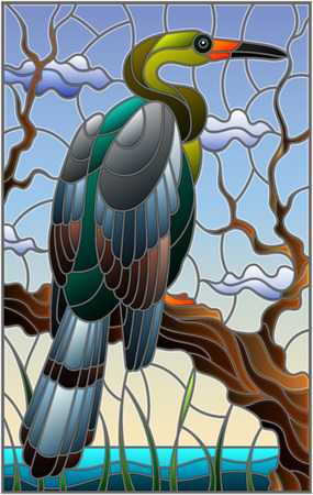 Illustration in stained glass style with a Heron bird sitting on a tree on a background of swamp and sky