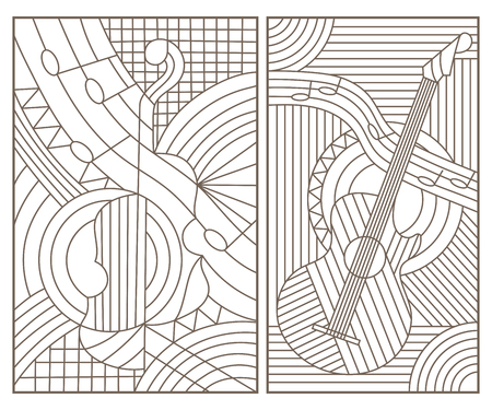 Set of contour illustrations in stained glass style with abstract musical instruments, dark contours on white background