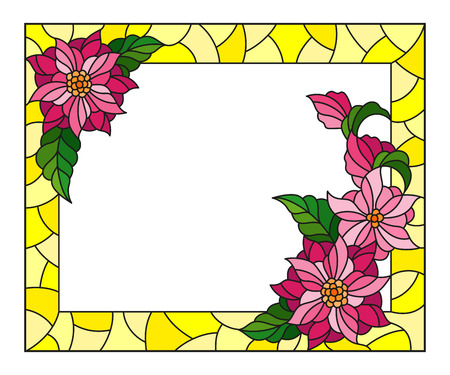 Illustration in stained glass style with frame with abstract pink  flowers on yellow background, rectangular image
