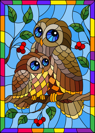Illustration in stained glass style with fairy owl and owlet on a tree branch with leaves and berries against the sky in bright frame