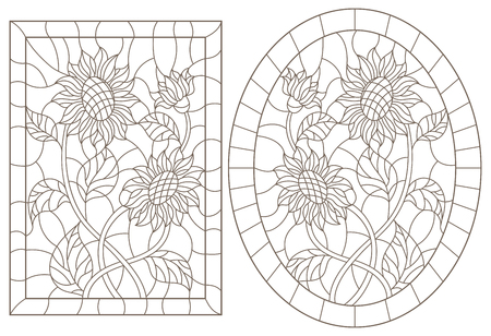 A set of contour illustrations of stained glass Windows with sunflowers in frames, dark contours on a white background, oval and rectangular image Vectores